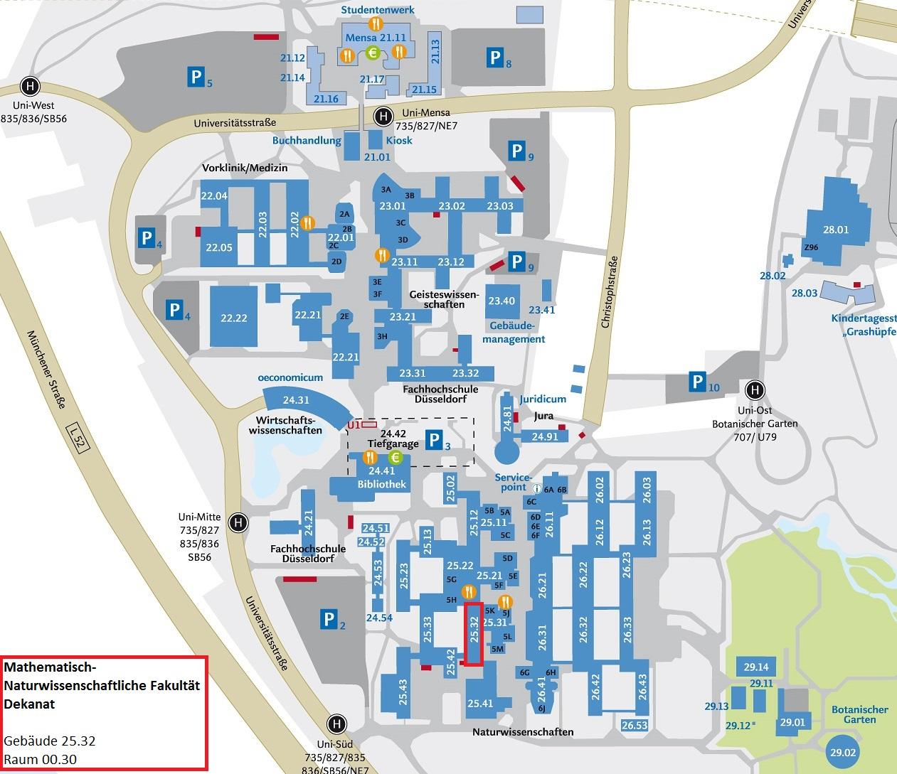 lageplan mathematisch naturwissenschaftliche fakultt - Uni Dsseldorf Bewerbung